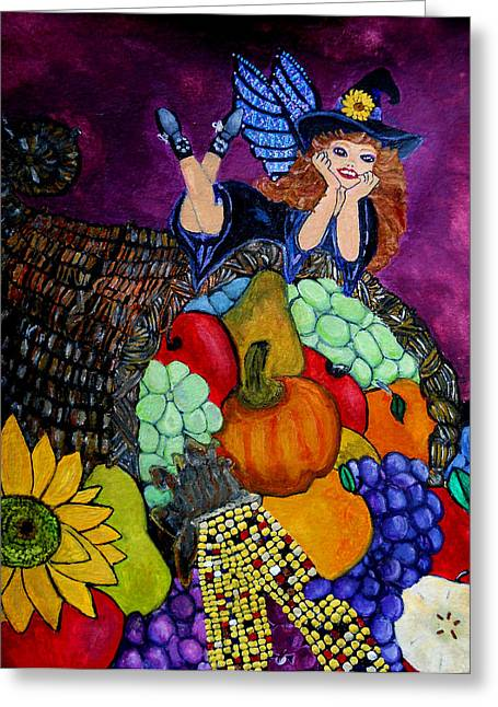 Cornucopia Paintings Greeting Cards - Bounty Greeting Card by Dayna Winters