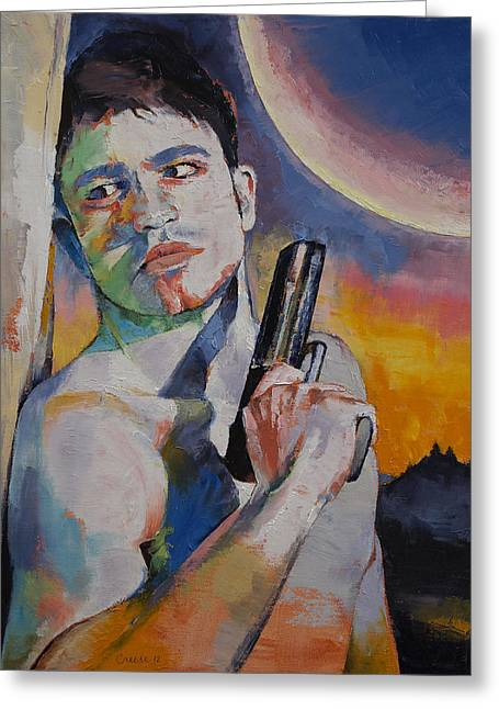 Science Fiction Art Greeting Cards - Bounty Hunter Greeting Card by Michael Creese