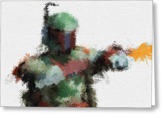 Character Portraits Greeting Cards - Bounty Hunter Greeting Card by Miranda Sether