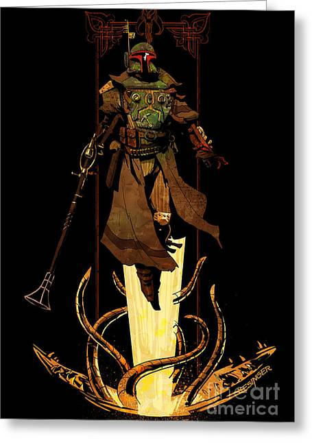 Star Digital Art Greeting Cards - Bounty Hunter Rising Greeting Card by Brian Kesinger