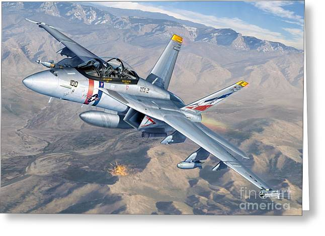 F-18 Greeting Cards - Bounty Hunters Over Afghanistan Greeting Card by Stu Shepherd