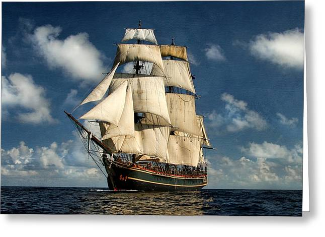 Historic Ship Greeting Cards - Bounty Making Way Greeting Card by Peter Chilelli