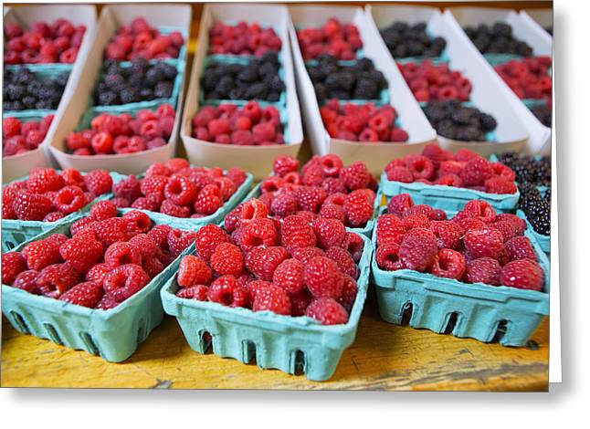 Farmstand Photographs Greeting Cards - Bounty of Berries Greeting Card by Caitlyn  Grasso