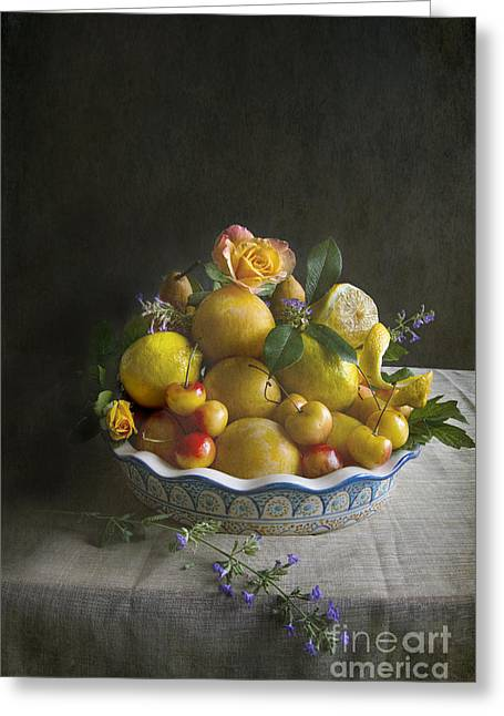 Fresh Produce Greeting Cards - Bounty Pile High Greeting Card by Elena Nosyreva
