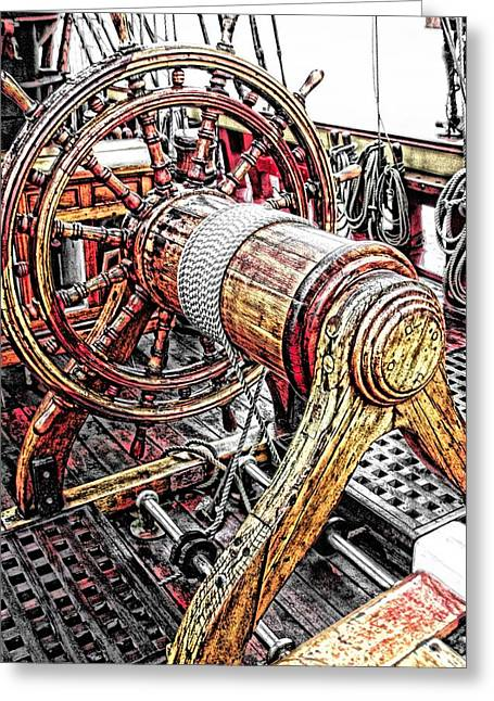 Tall Ships Mixed Media Greeting Cards - Bounty Ships Wheel Greeting Card by Don Bendickson