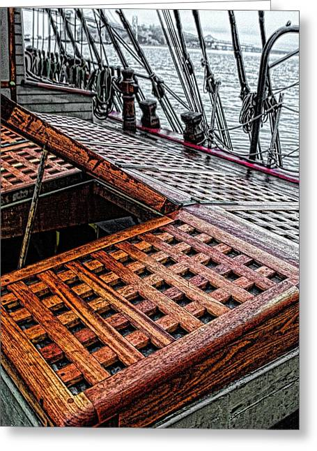 Tall Ships Mixed Media Greeting Cards - Bounty Wooden Hatch Cover Greeting Card by Don Bendickson