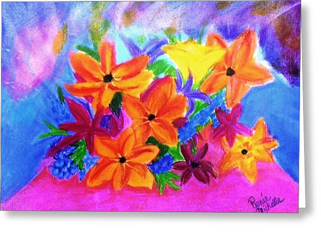 Lighting Pastels Greeting Cards - Bouquet Borealis Greeting Card by Renee Michelle Wenker