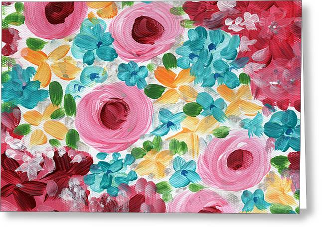 Chic Greeting Cards - Bouquet- expressionist floral painting Greeting Card by Linda Woods