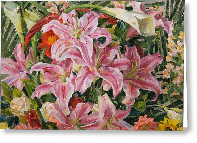 Flower Still Life Greeting Cards - Bouquet from exhibition Greeting Card by Victoria Kharchenko