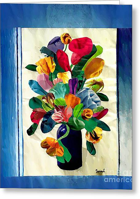 Sarah Loft Greeting Cards - Bouquet in a Country Window Greeting Card by Sarah Loft