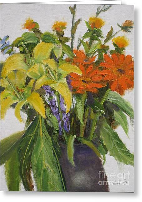 Park Scene Paintings Greeting Cards - Bouquet Greeting Card by Mohamed Hirji
