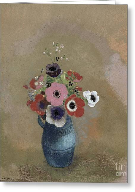 Flower Still Life Prints Greeting Cards - Bouquet of anemones Greeting Card by Odilon Redon