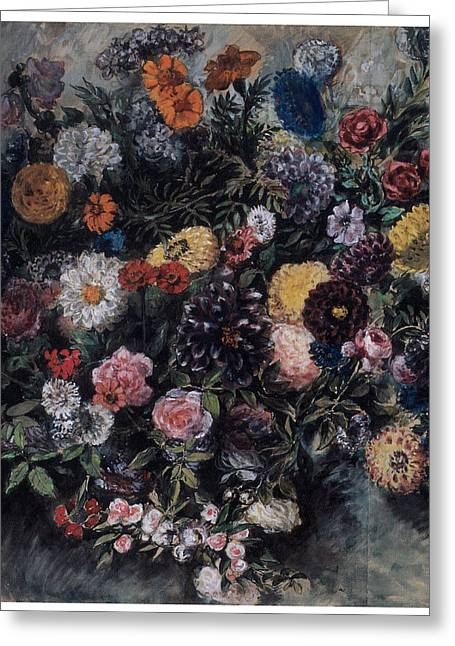 Ruse Greeting Cards - Bouquet of Flowers Greeting Card by Eugene Delacroix