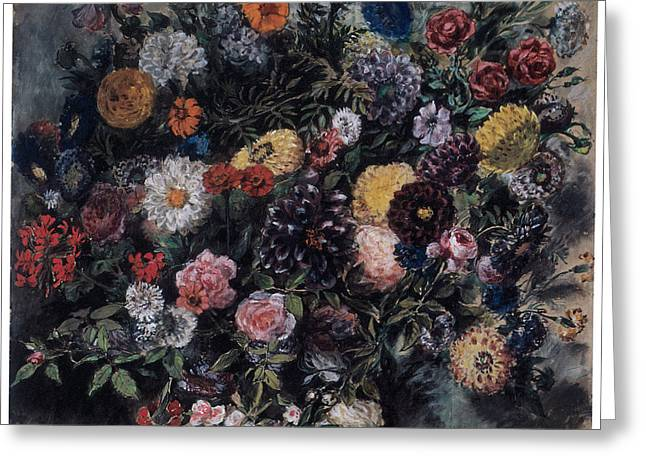 Bouquet of Flowers Greeting Card by Eugene Delacroix