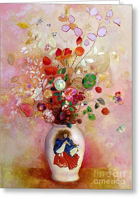 Flower Still Life Prints Greeting Cards - Bouquet of Flowers in a Japanese Vase Greeting Card by Odilon Redon