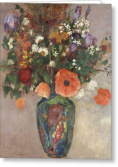 Flower Still Life Prints Greeting Cards - Bouquet of Flowers in a Vase Greeting Card by Odilon Redon