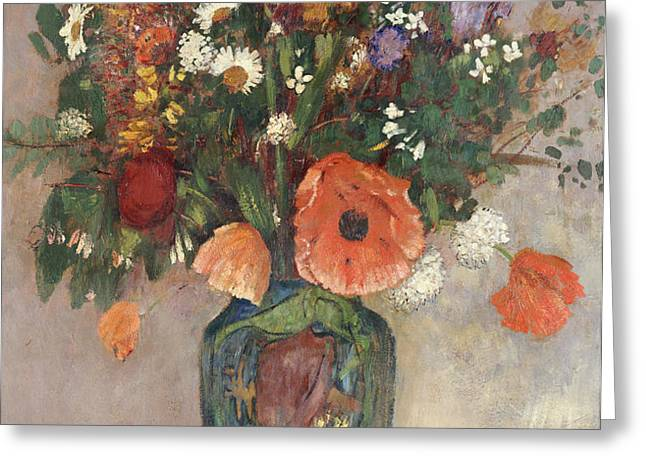 Bouquet of Flowers in a Vase Greeting Card by Odilon Redon