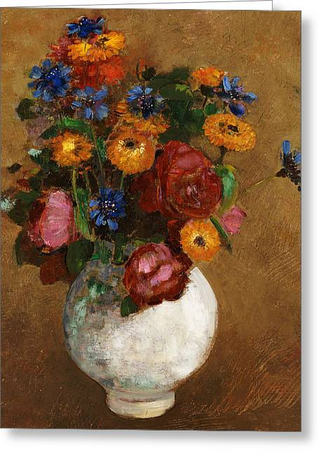 Flower Still Life Prints Greeting Cards - Bouquet of Flowers in a White Vase Greeting Card by Odilon Redon