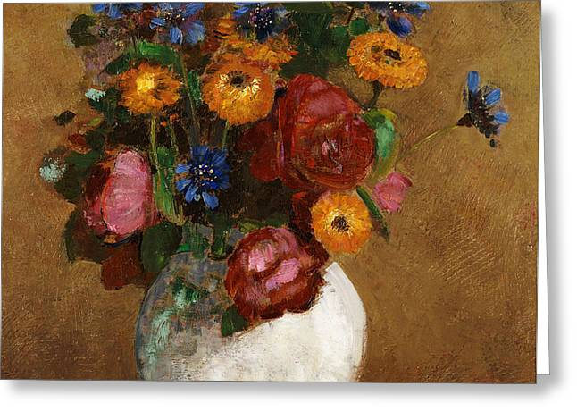 Bouquet of Flowers in a White Vase Greeting Card by Odilon Redon