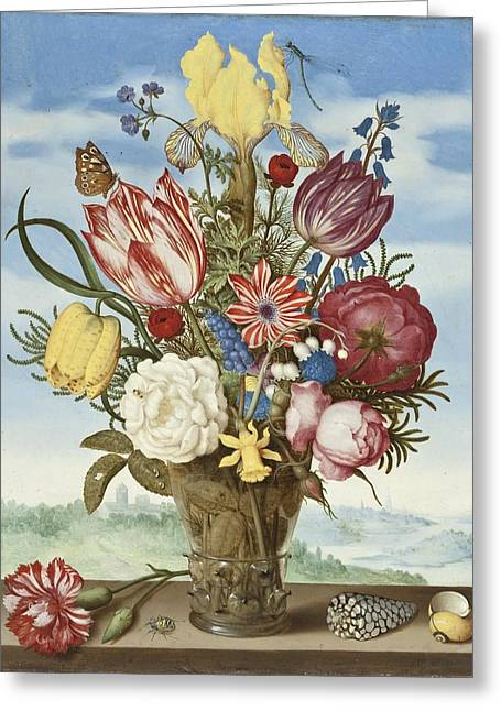 Vase Of Flowers Greeting Cards - Bouquet of Flowers on a Ledge Greeting Card by Amrrosius Bosschaert