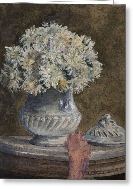 Interior Still Life Photographs Greeting Cards - Bouquet Of Flowers Wc On Paper Greeting Card by Henri Duhem