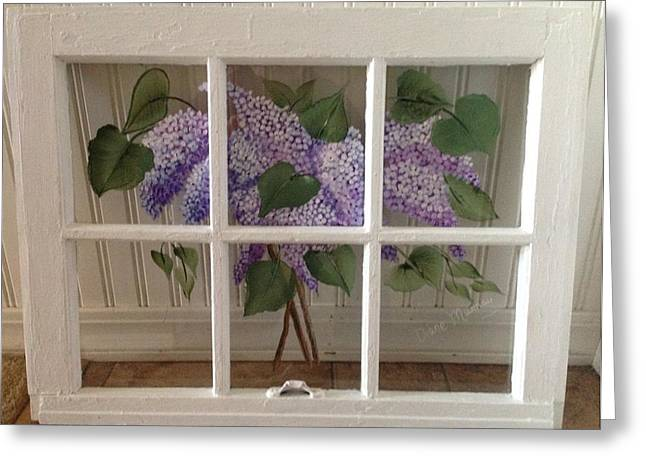 Vintage Glass Art Greeting Cards - Bouquet of Lilac on Vintage Window Greeting Card by Diane Murray