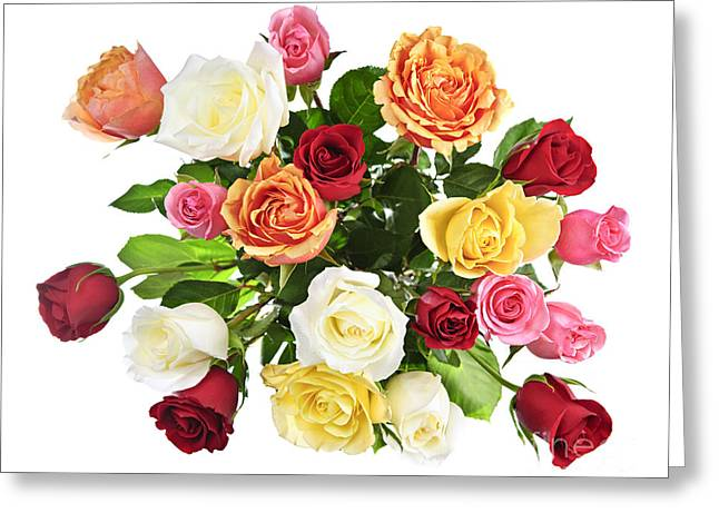 Assorted Greeting Cards - Bouquet of roses from above Greeting Card by Elena Elisseeva