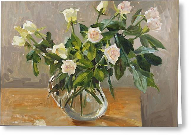 Flower Still Life Greeting Cards - Bouquet of roses Greeting Card by Victoria Kharchenko