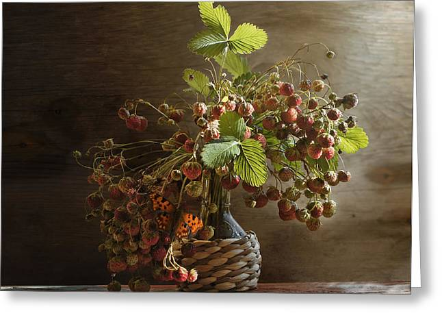 Strawberry Pyrography Greeting Cards - Bouquet of strawberries Greeting Card by Valerii Chalykh