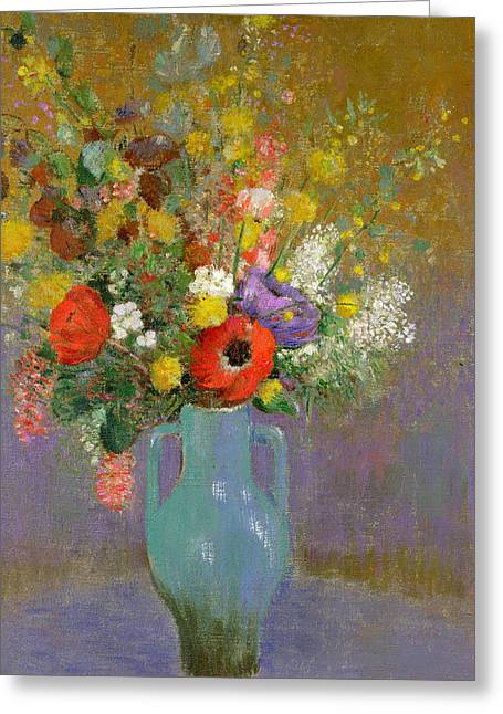 Tasteful Art Greeting Cards - Bouquet of Wild Flowers  Greeting Card by Odilon Redon