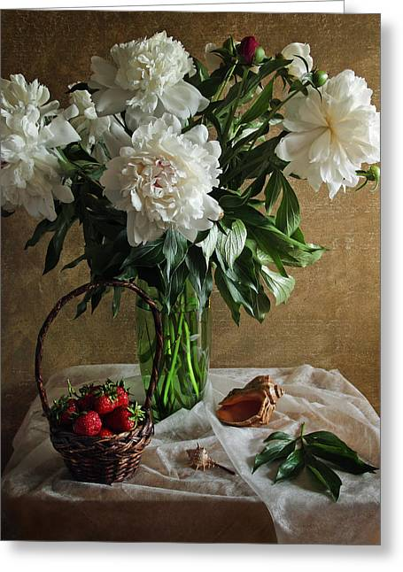 Table Wine Greeting Cards - Bouquet peonies flowers Greeting Card by Vitaliy Gladkiy