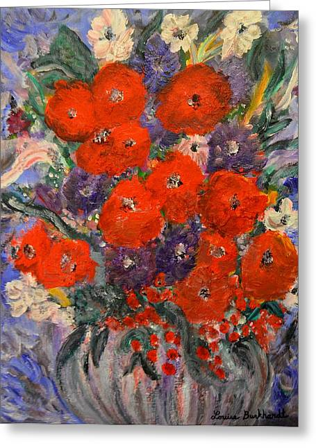 Bouquet Splash Greeting Card by Louise Burkhardt
