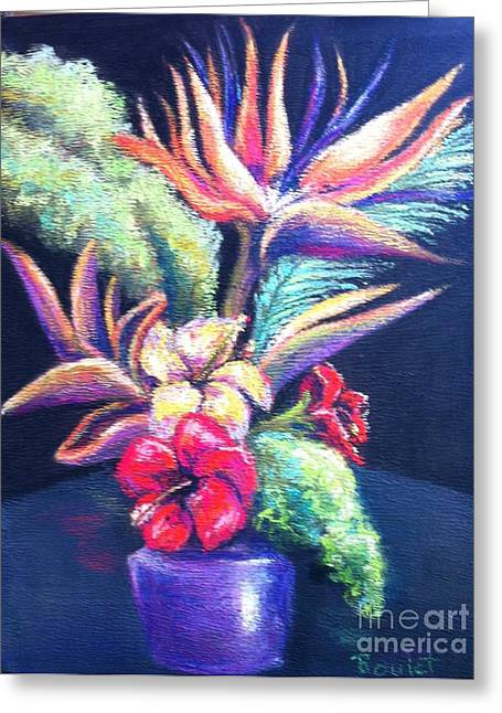 Vase Of Flowers Pastels Greeting Cards - Bouquet with bird of Paradise Greeting Card by Beverly Boulet