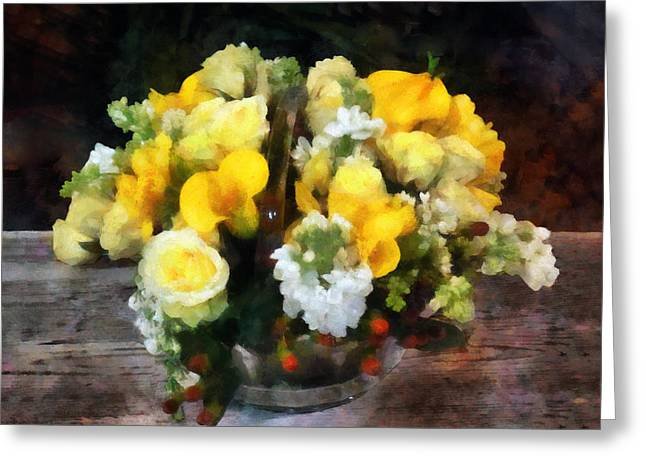 Basket Greeting Cards - Bouquet With Roses and Calla Lilies Greeting Card by Susan Savad