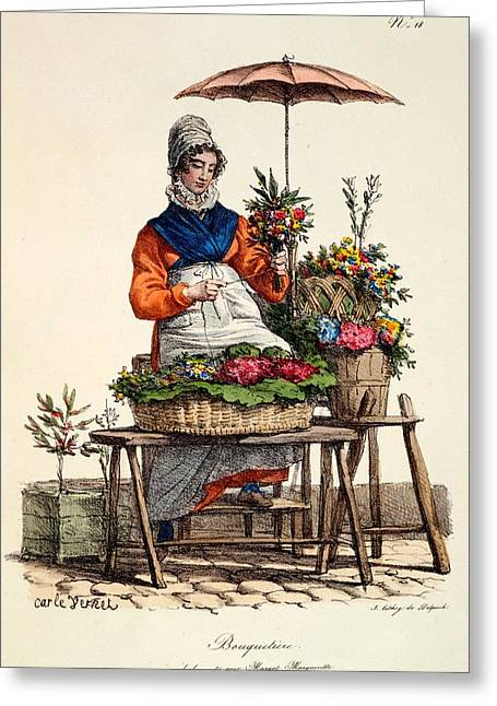 Seller Drawings Greeting Cards - Bouquetiere Des Bouquets Pour Margot Greeting Card by Carle Vernet