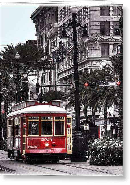 Canal Street Greeting Cards - Bourbon and Canal Trolley Cropped Greeting Card by Tammy Wetzel
