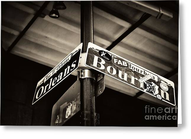 Rue Bourbon Greeting Cards - Bourbon and Orleans Greeting Card by John Rizzuto