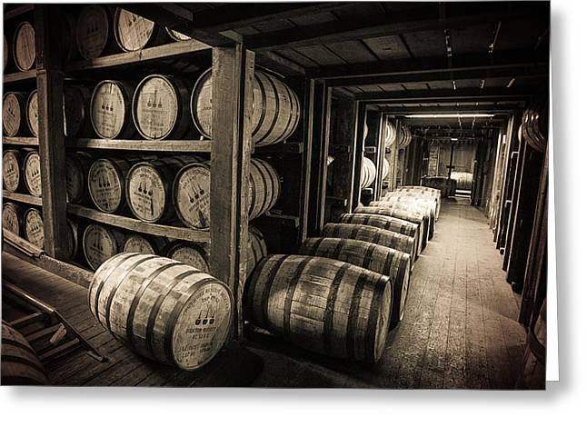 Sepia Greeting Cards - Bourbon Barrels Greeting Card by Karen Zucal Varnas