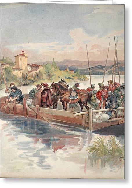 French Renaissance Greeting Cards - Bourbon Flight, Illustration Greeting Card by Albert Robida