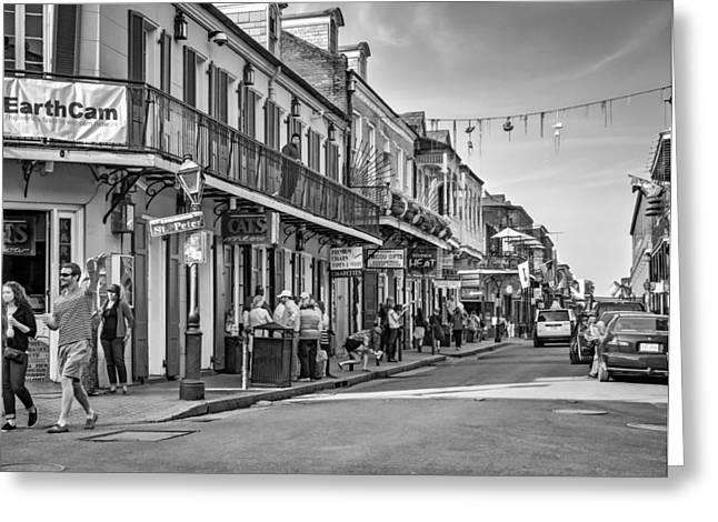 Bourbon Street Afternoon Bw Greeting Card by Steve Harrington