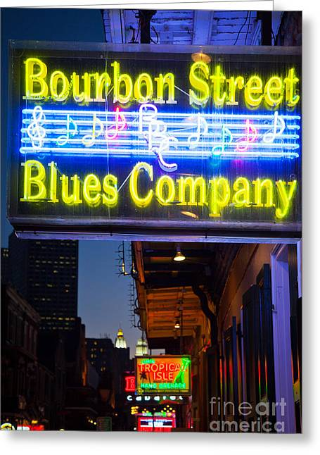 Creole Greeting Cards - Bourbon Street Blues Company Greeting Card by Inge Johnsson