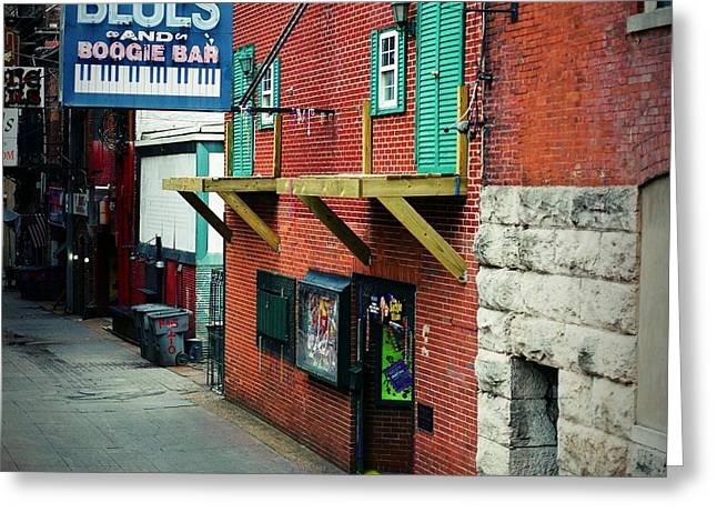 Nashville Downtown Greeting Cards - Bourbon Street Blues Greeting Card by Linda Unger