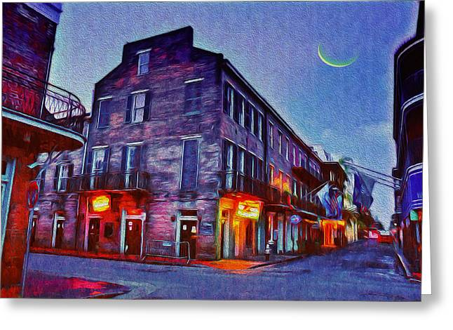 Mango Greeting Cards - Bourbon Street - Crescent Moon over the Crescent City Greeting Card by Bill Cannon