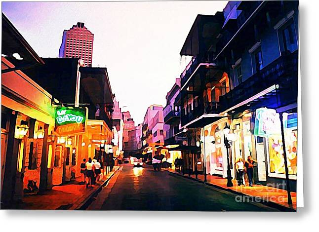 Halifax Art Galleries Greeting Cards - Bourbon Street Early Evening Greeting Card by John Malone