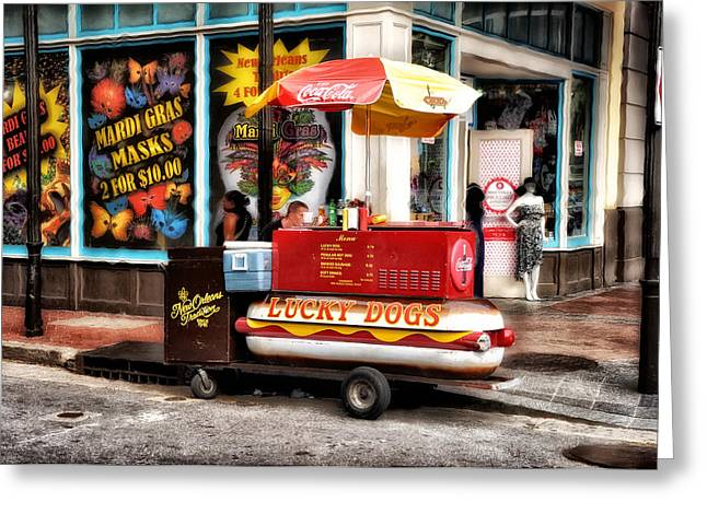 Lucky Dogs Greeting Cards - Bourbon Street Lucky Dog Greeting Card by Bill Cannon