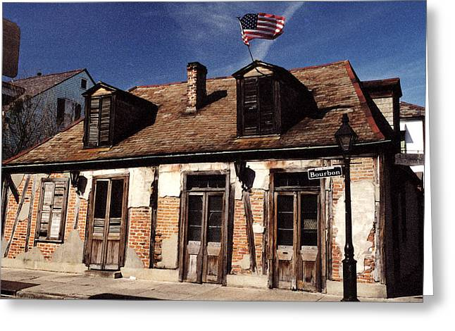 Old Street Greeting Cards - Bourbon Street Greeting Card by Mary Bedy
