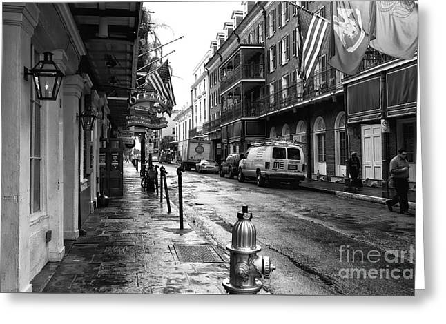 Flag Fire Hydrant Greeting Cards - Bourbon Street Morning mono Greeting Card by John Rizzuto