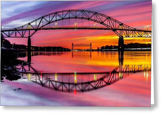 Bourne Bridge Reflection Greeting Card by Dean Martin