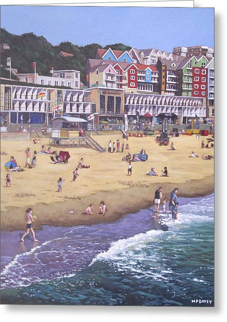 Sunbathing Greeting Cards - Bournemouth boscombe beach sea front Greeting Card by Martin Davey