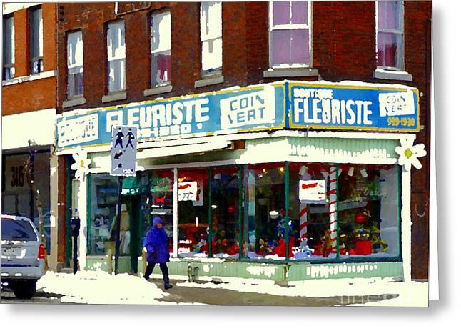 Coin Vert Greeting Cards - Boutique Fleuriste Coin Vert Flower Shop Rue Notre Dame Montreal Urban Winter Scenes Carole Spandau Greeting Card by Carole Spandau